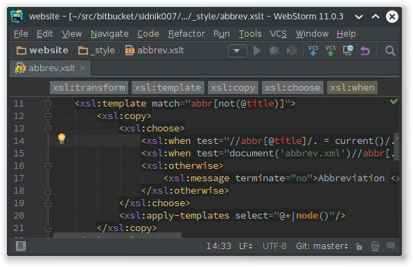 Screenshot showing WebStorm with an XSLT source code of an abbreviation expander.
