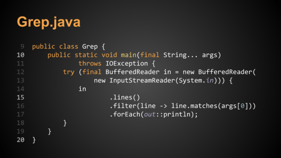 Sample slide: Grep.java